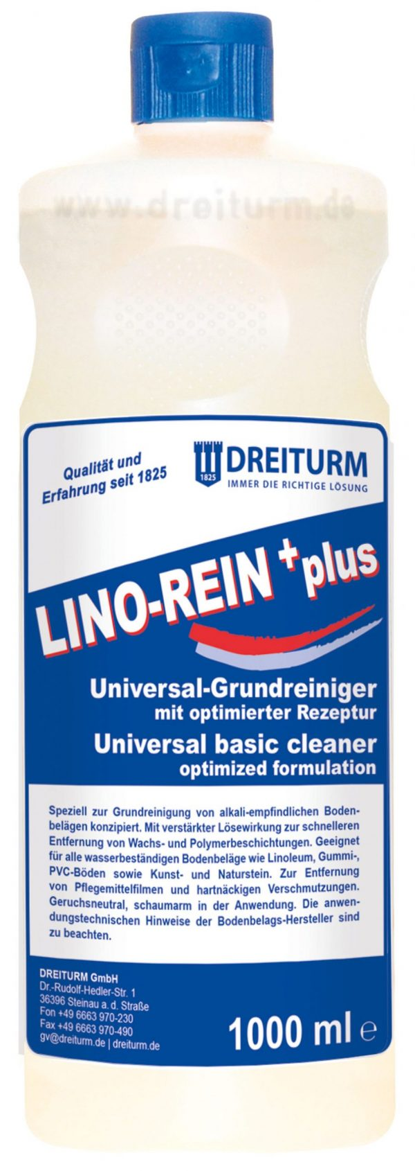 LINO REIN PLUS 1000ml scaled scaled Detergent decapant pentru pardoseli 1L |  Lino-rein+plus | Dreiturm - Magazin Online Unilift Serv
