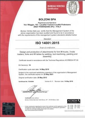 bolzoni certificat 3 Bolzoni - Magazin Online Unilift Serv