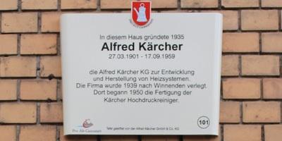 Placa comemorativa - Alfred Karcher