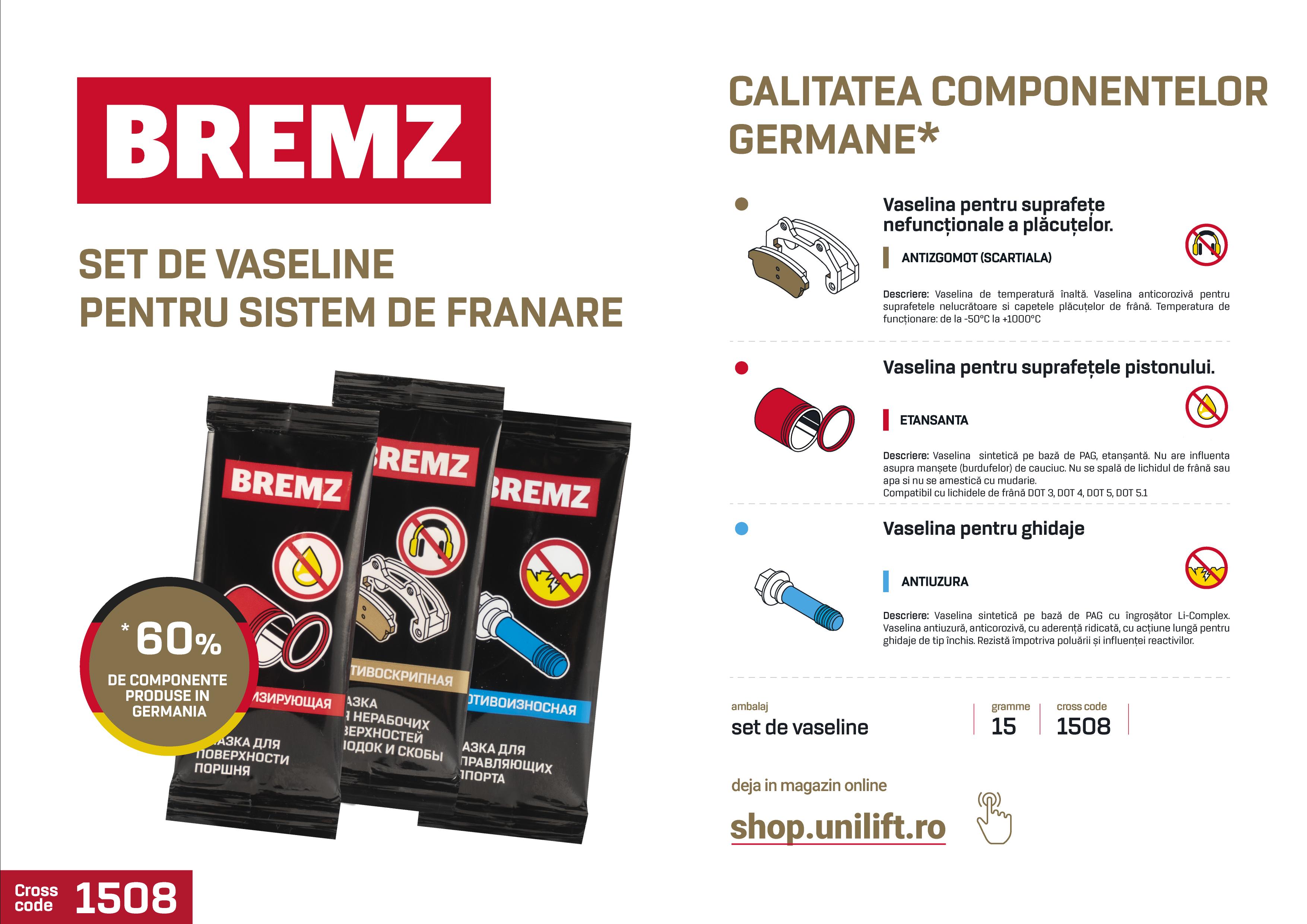 1 BREMZ, set de vaseline pentru sistemul de frânare, 3x5gr - SHOP unilift.ro vaselina pentru frane